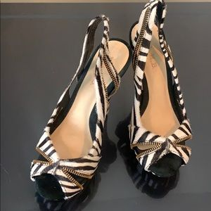 Zebra Open Toe Platform Pumps